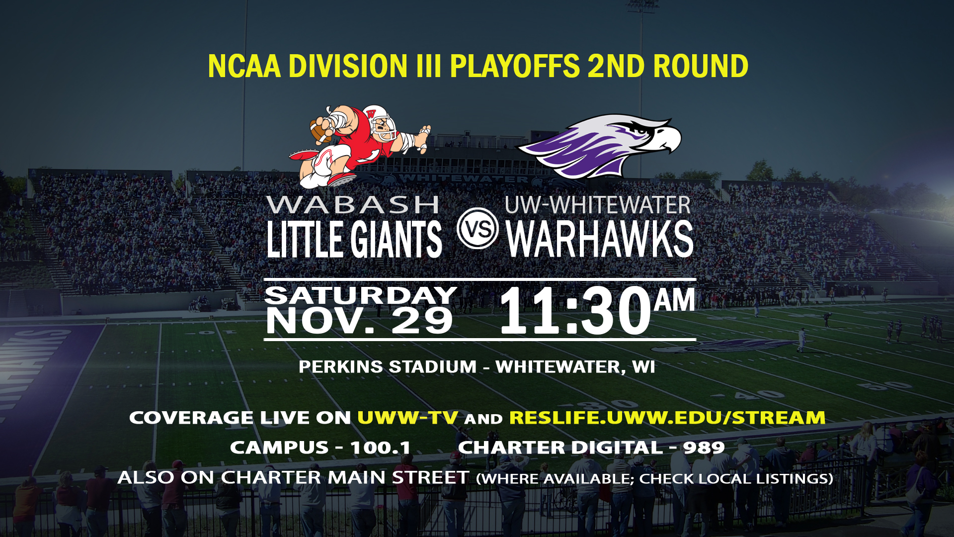 #1 UW-Whitewater to Host #14 Wabash in Second Round of D3 Football Playoffs