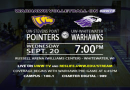 Warhawk Volleyball takes on UW-Stevens Point Tonight, September 20th, LIVE on UWW-TV!