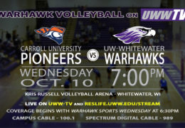 Carroll University Pioneers Enter Warhawk Territory Tomorrow Night LIVE on UWW-TV!
