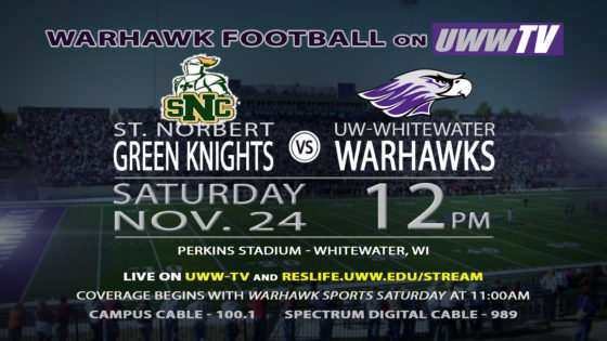 Second Round NCAA Division III Football Play-offs to be Hosted by the Warhawks TOMORROW on UWW-TV!