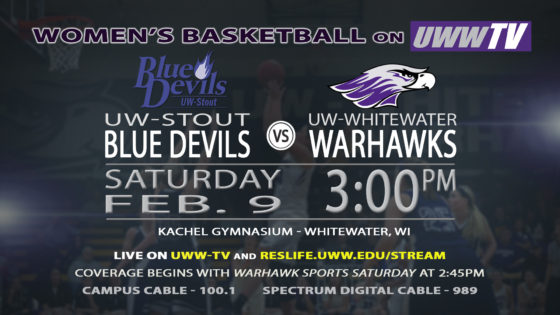 UWW-TV Brings You UW-Whitewater Women's Basketball v. UW-Stout Blue Devils LIVE Tomorrow Afternoon!