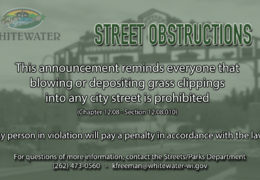 City of Whitewater PSA on Street Obstructions