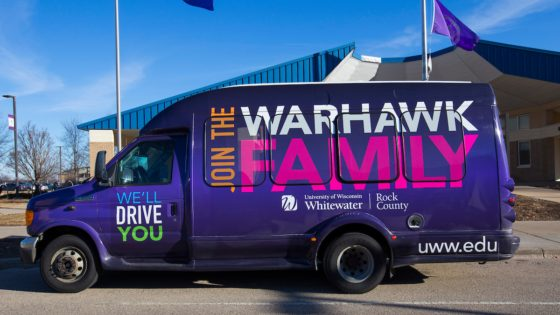 The Warhawk Shuttle to the UW-Whitewater Rock County campus pulls up to the Visitor Center on Tuesday, March 19, 2019 in the early morning. (UW-Whitewater photo/Craig Schreiner) (UW-Whitewater photo/Craig Schreiner)