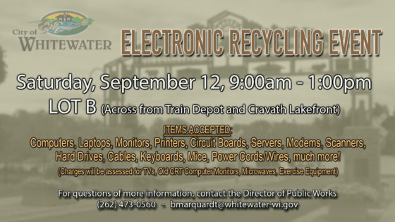 City of Whitewater Electronic Recycling Event Scheduled for September 12
