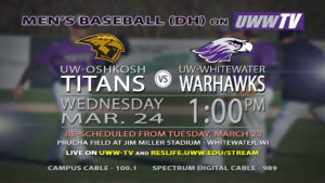 RESCHEDULED – Warhawks vs. Titans baseball for March 24th