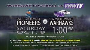 Warhawk Football: October 9th at 1 pm